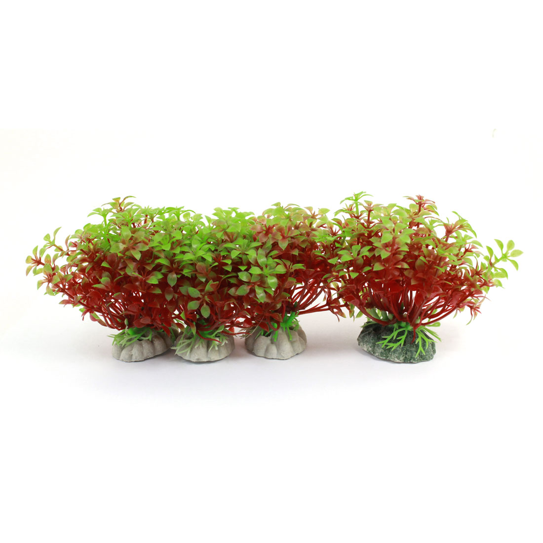 "Fish Tank Aquarium Ornament 3.5"" Height Simulation Underwater Artificial Emulational Water Plant Grass Detail Red Green 4PCS"