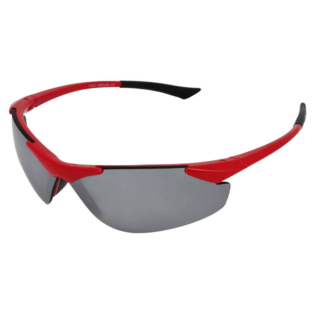 Lady Man Red Half Frame Mirror Lens Plastic Outdoor Sports Glasses