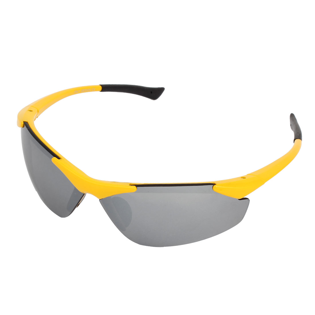 Lady Man Yellow Half Frame Mirror Lens Plastic Outdoor Sports Glasses