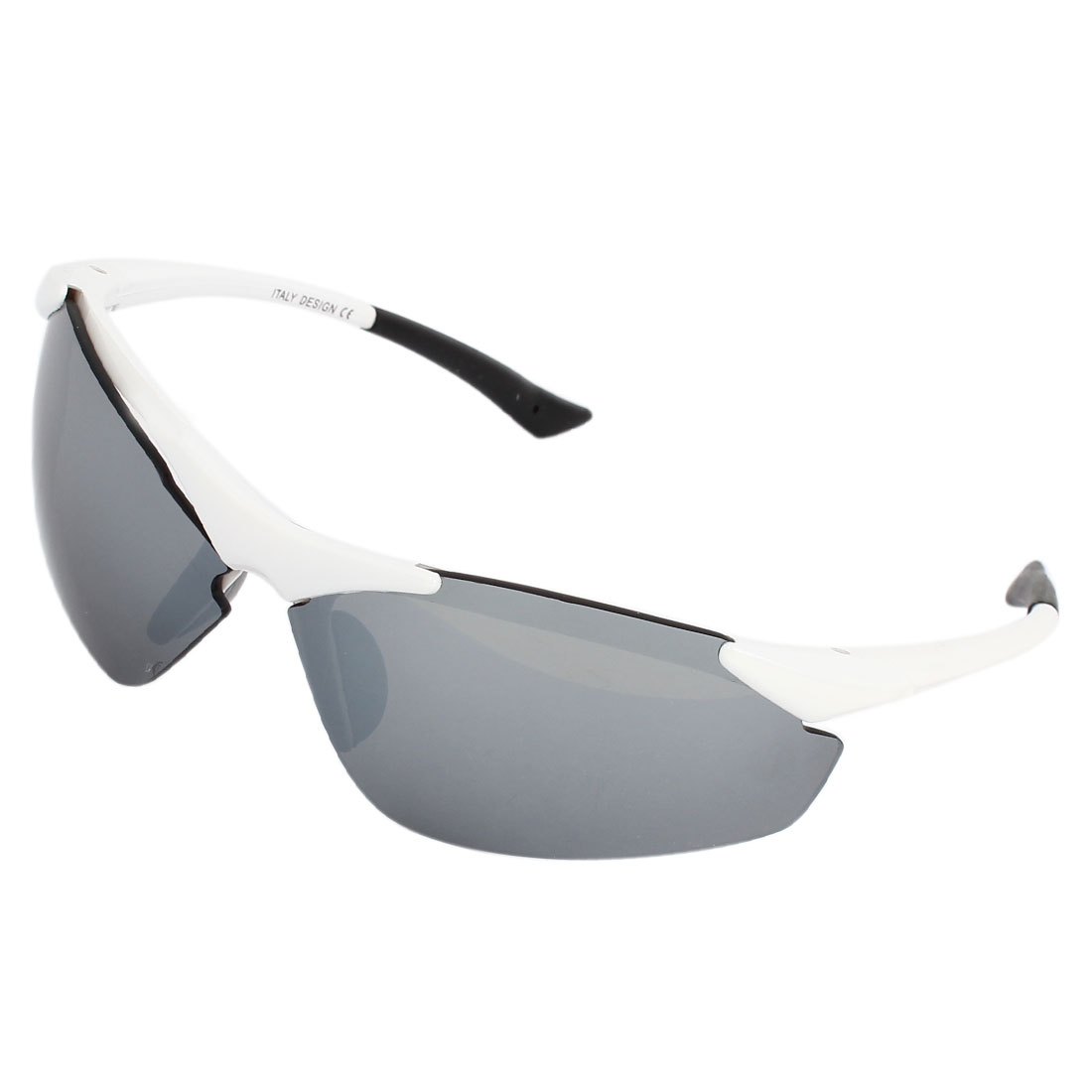 White Plastic Frame Outdoor Sports Protective Sunglasses for Unisex