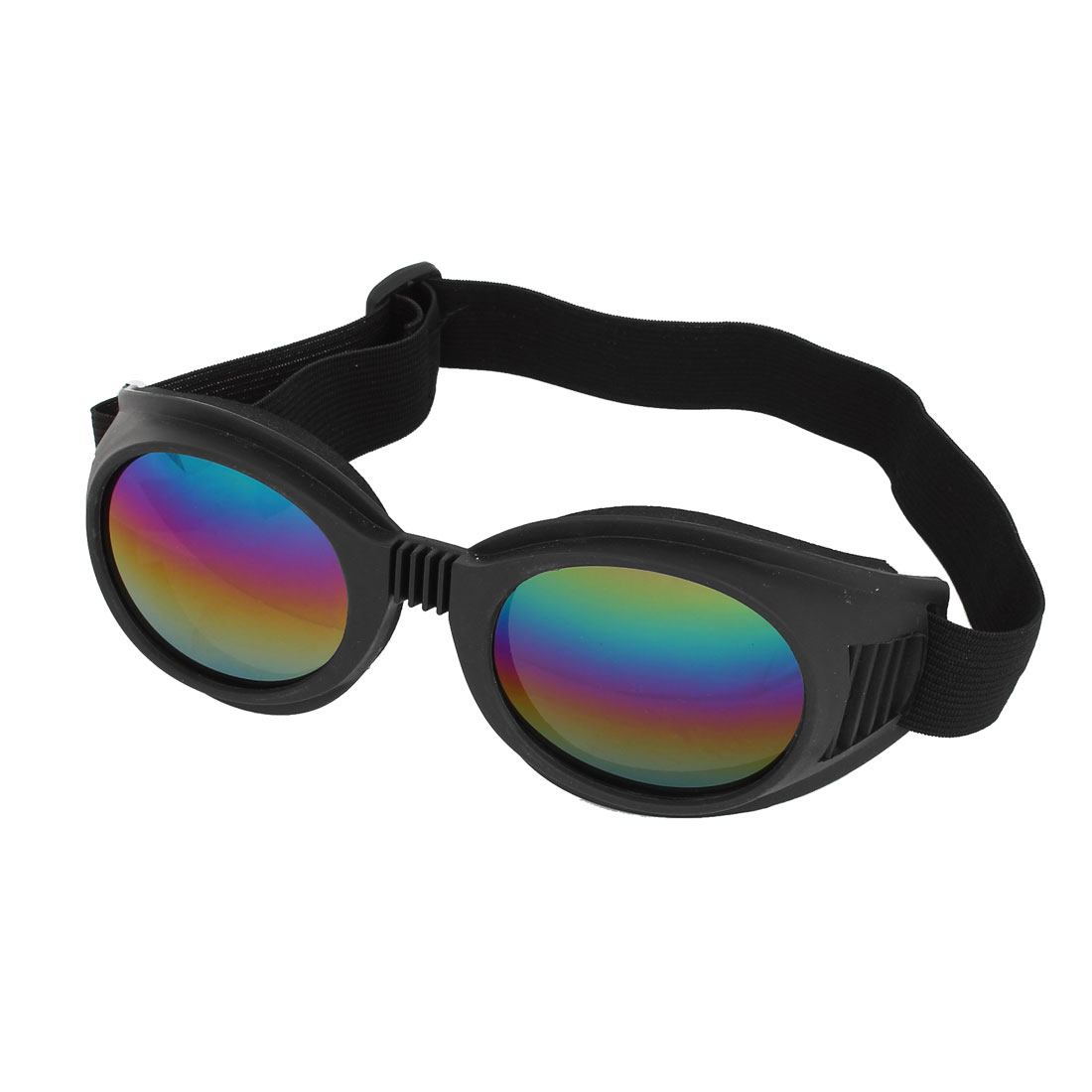 Woman Man Black Plastic Frame Multicolor Lens Wind Sand Dust Sports Ski Goggles