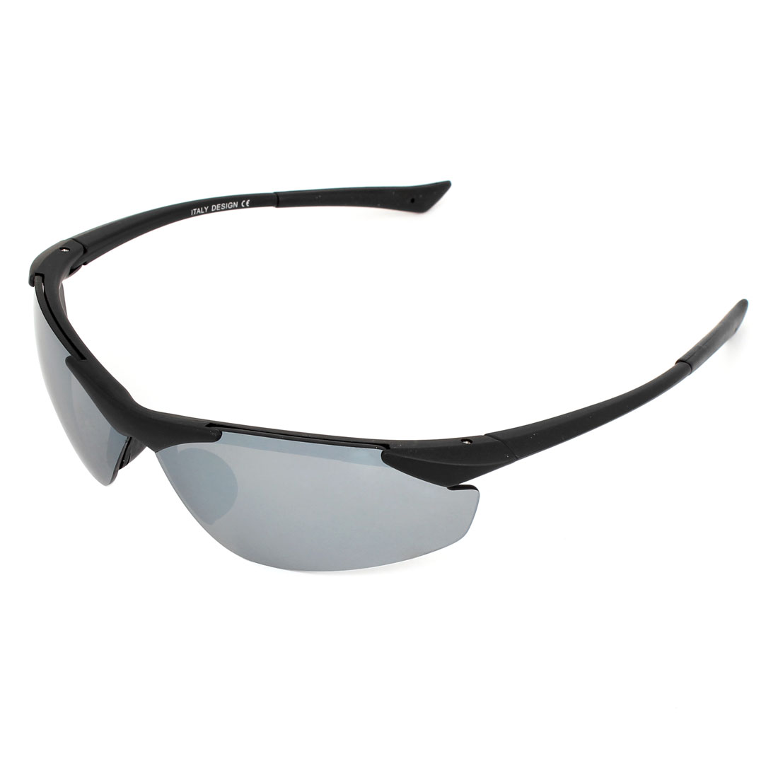 Lady Man Black Half Frame Gray Lens Plastic Outdoor Sports Glasses