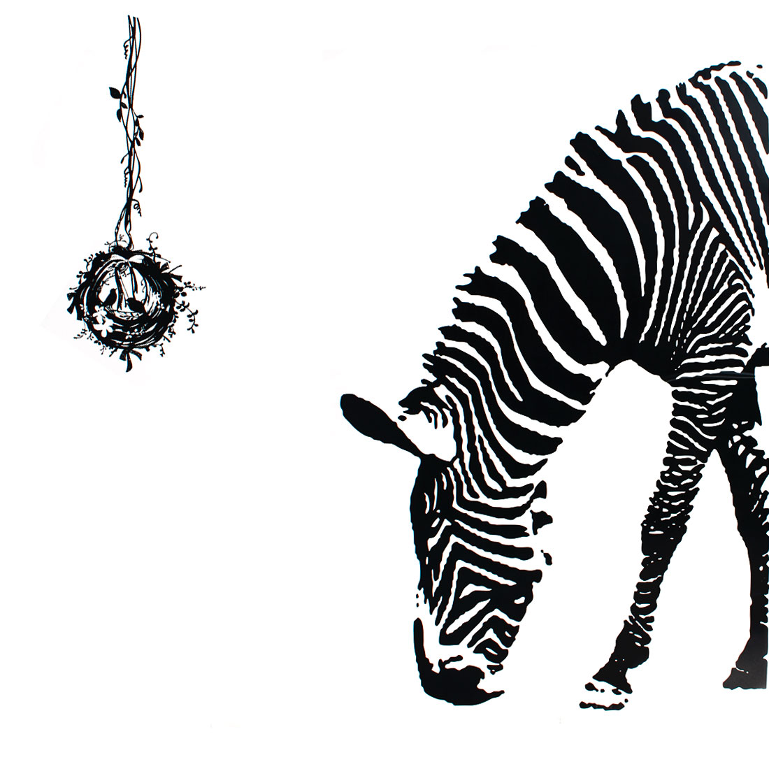 Bedroom Accent Self Adhesive Zebra Animal Wall Sticker Decal 60cmx90cm Black