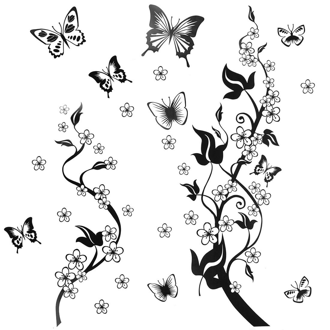 Bedroom Accent DIY Mural Flower Rattan Butterfly Wall Sticker 60cmx90cm Black