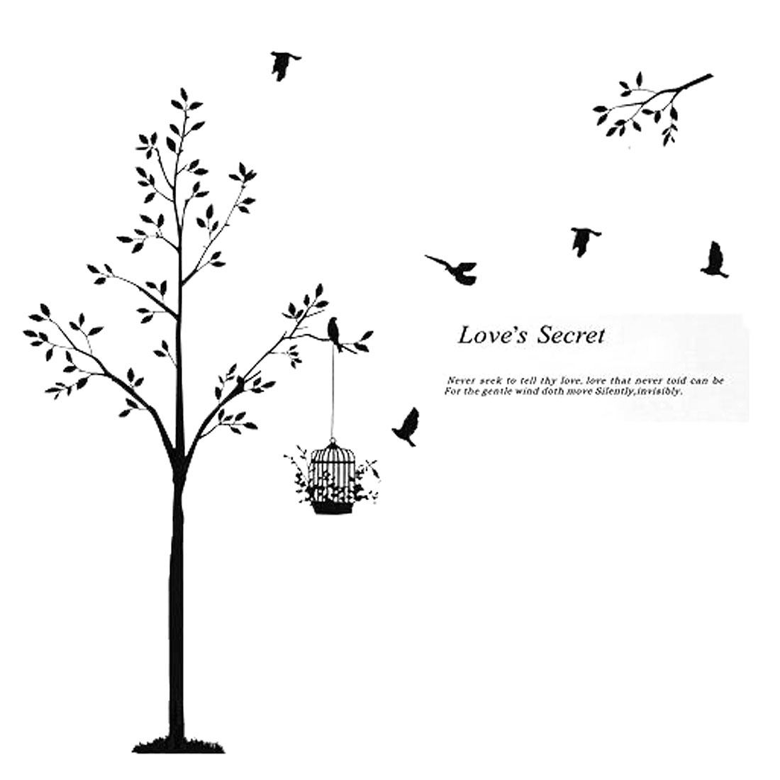 Bedroom Accent Self Adhesive Tree Love Secret Wall Sticker Decal 60cmx90cm Black