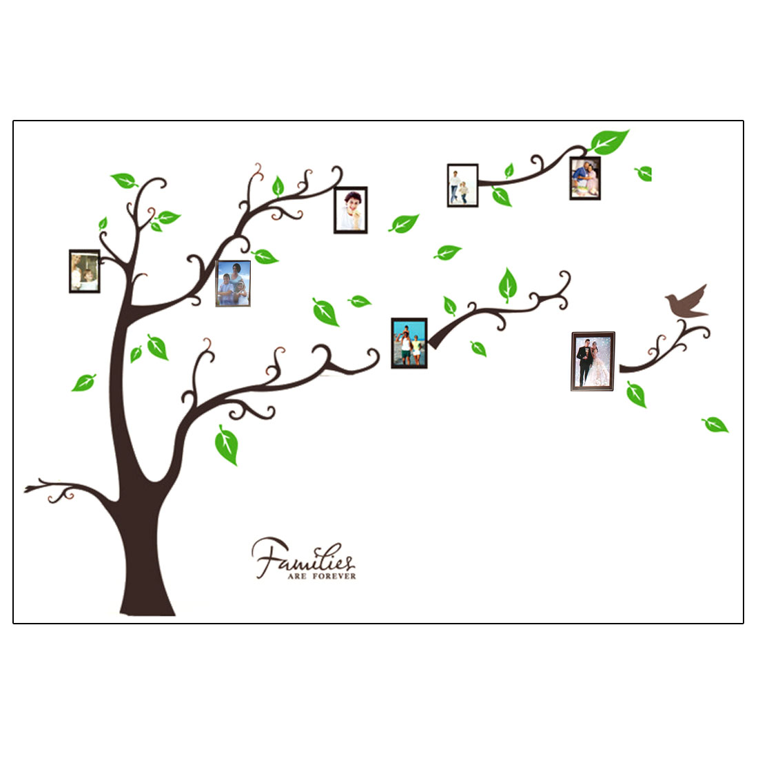 Bedroom Accent Self Adhesive Photo Frame Tree Wall Sticker Decal 60x90cm Brown