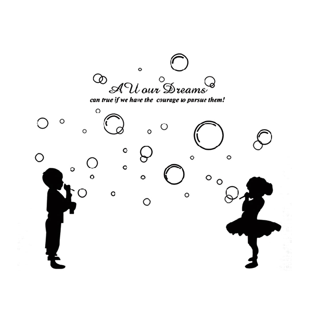 Bedroom Accent Self Adhesive Blowing Bubbles Kids Wall Sticker 60cmx90cm Black