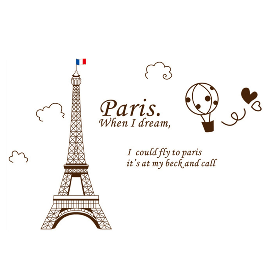 Home Room Brown DIY Removable PVC Paris Eiffel Tower Wall Sticker Decal 60x90cm