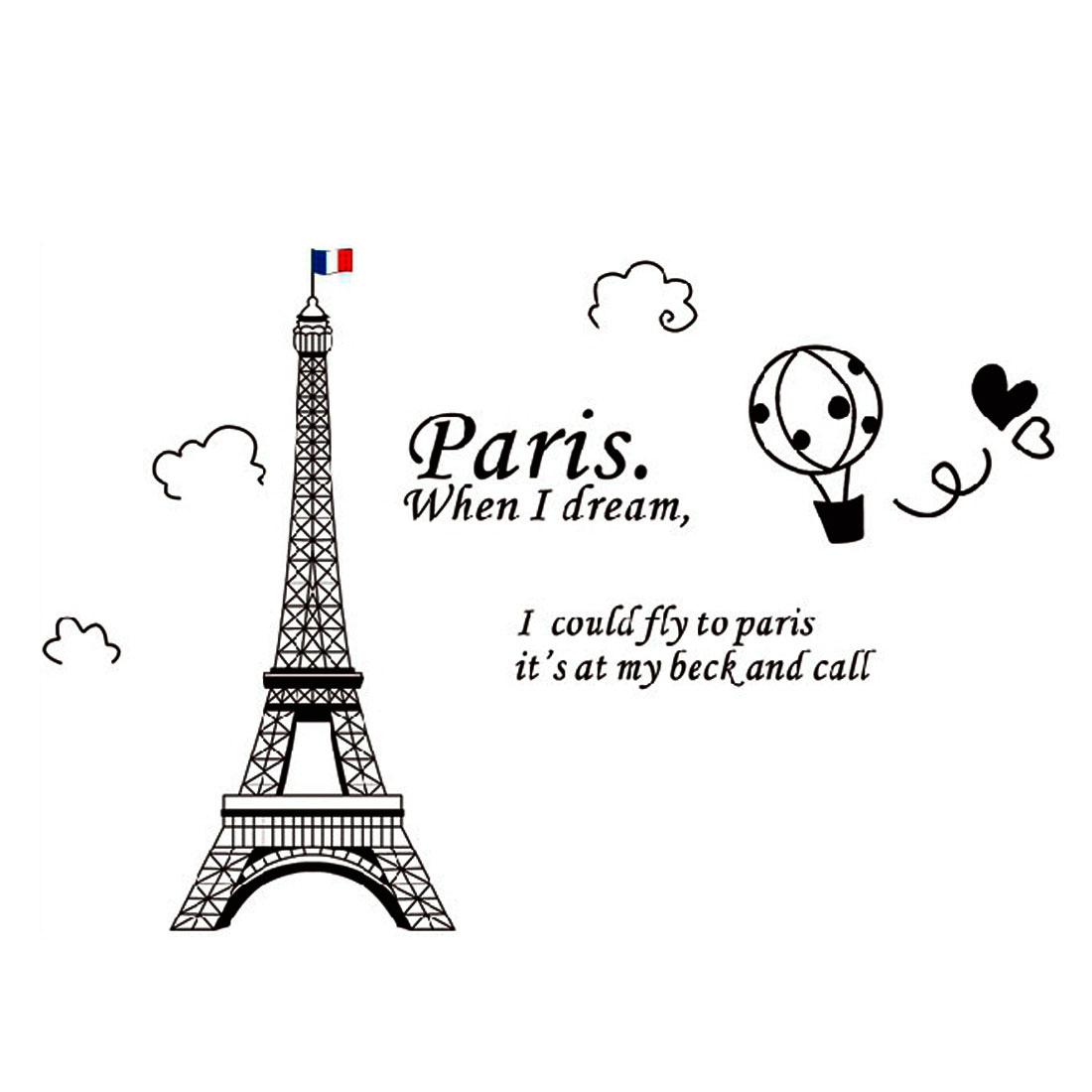 Home Decor Black DIY Removable PVC Pairs Eiffel Tower Wall Sticker Decal 60x90cm