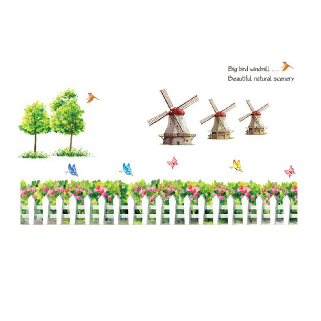 "Bedroom Accent DIY Adhesive Gray Cartoon Windmill Wall Sticker Decal 47"" x 30"" Green"