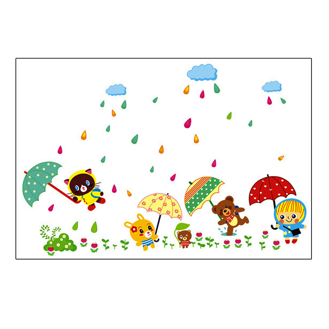 Home Decor Multicolor DIY Removable PVC Animals Holding Umbrellas Wall Sticker Decal 1x1.5m