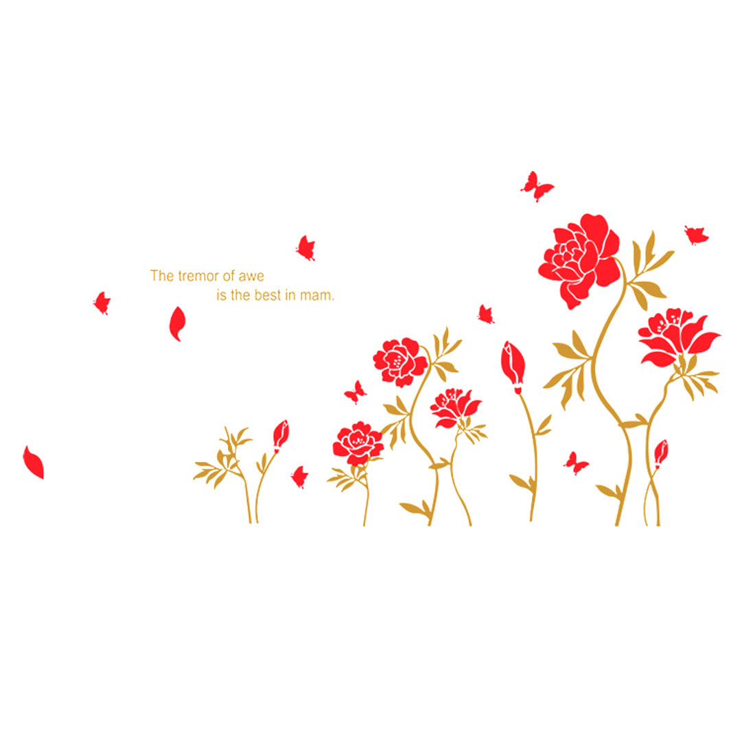 "Wedding Room Decor Red DIY Removable PVC Peony Flowers Wall Sticker Decal 69"" x 38"""