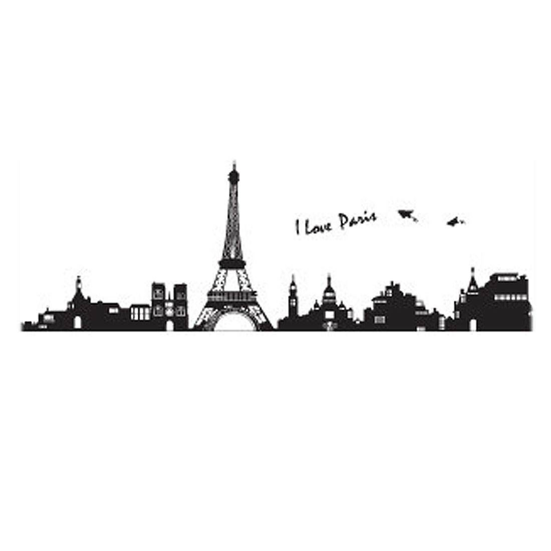 Bedroom Accent Self Adhesive Paris Buildings Eifel Tower Wall Sticker Decal 60cmx90cm Black