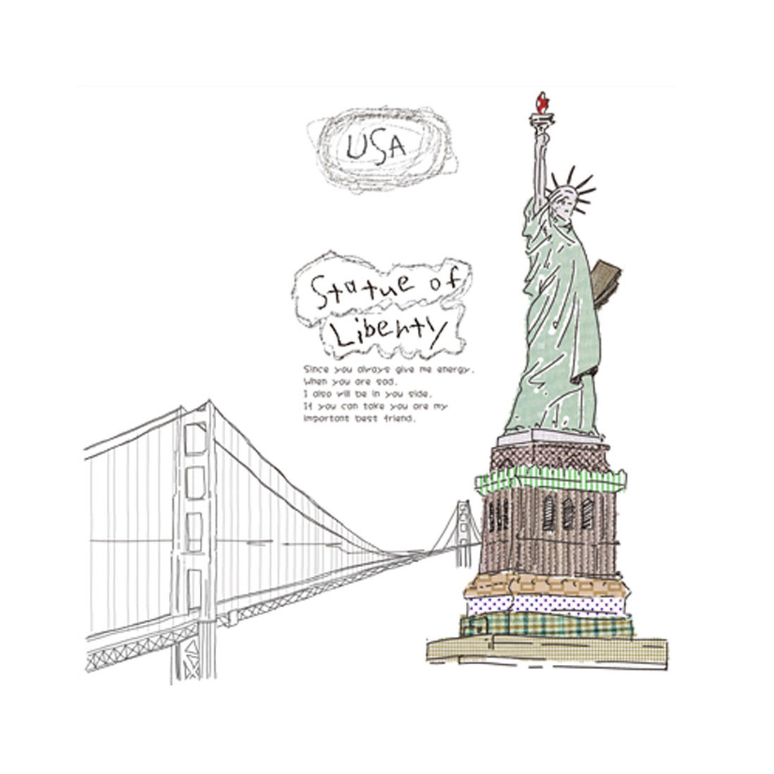 "Bedroom Decoration DIY Statue Of Liberty Wall Sticker Decal 60""L x 35""W Black"