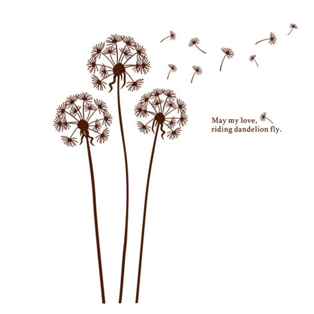 living Room Decor Adhesive PVC Dandelion Flying Wall Stickers 60cm x 90cm Brown