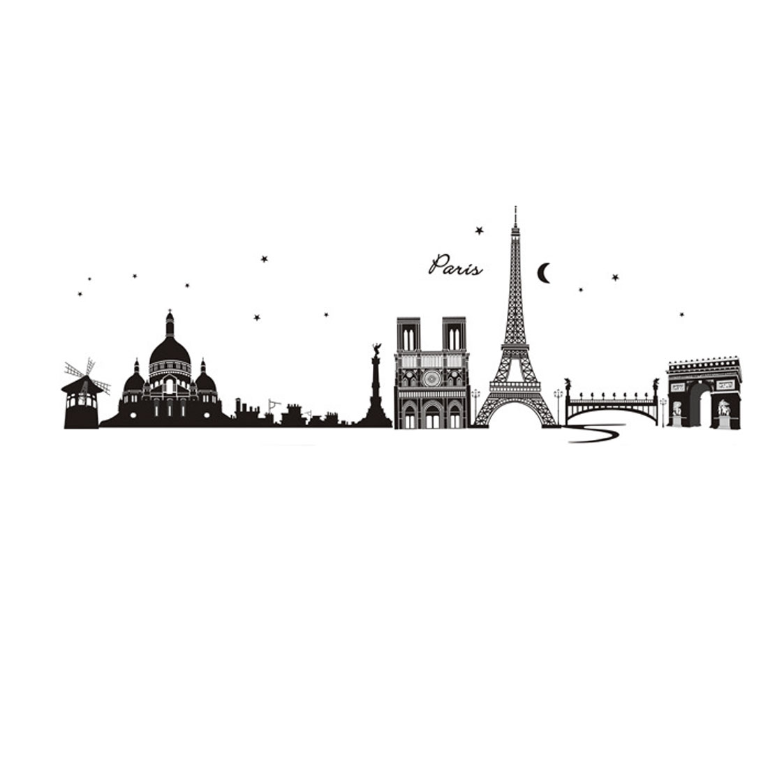 Bedroom Accent Adhesive World Landmarks Buildings Wall Sticker 60x90cm Black