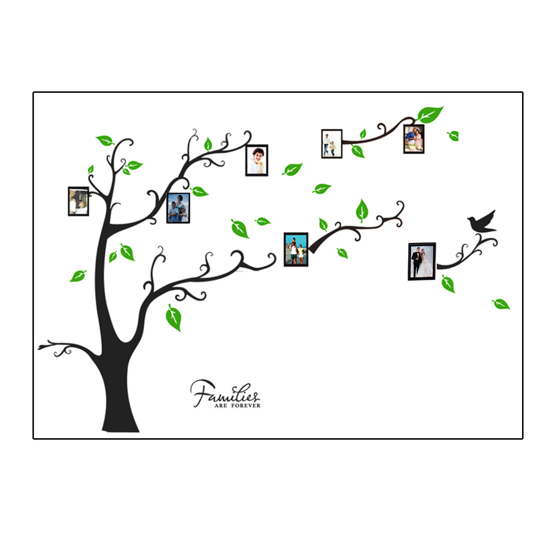 Bedroom Accent Self Adhesive Photo Frame Tree Wall Sticker Decal 60x90cm Black