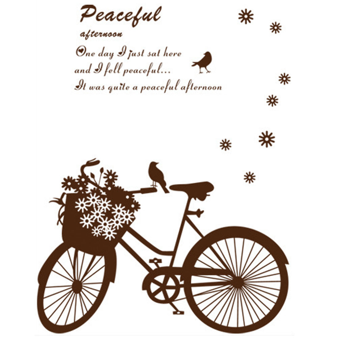 Bedroom Accent Chocolate Color Adhesive DIY Bicycle Wall Sticker Decal 60cmx80cm