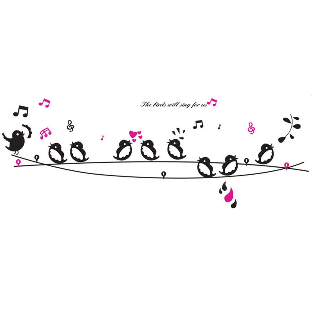 "Bedroom Accent DIY Birds Singing Music Wall Sticker Decal 63"" x 23"" Black"