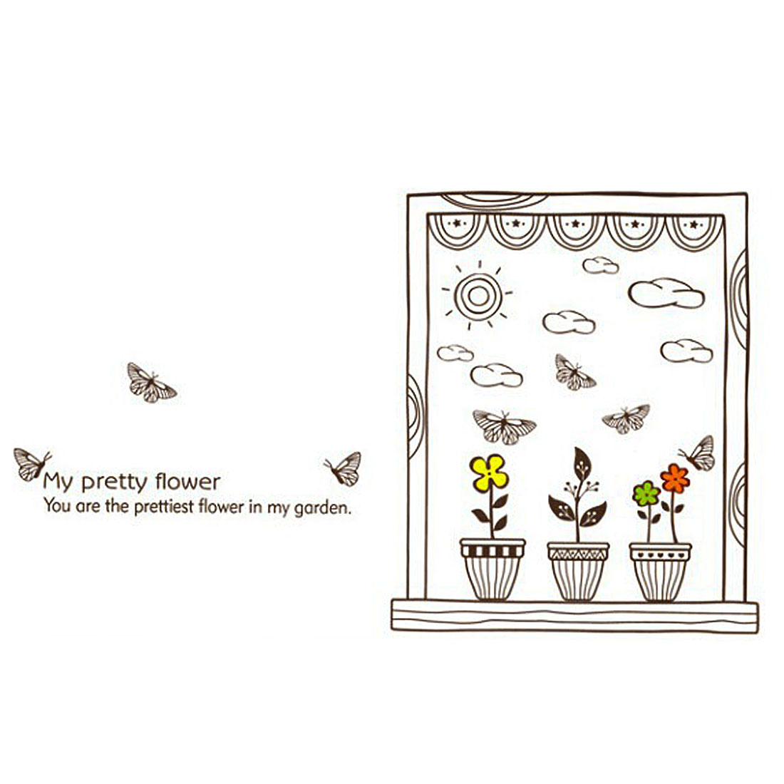 Bedroom Accent DIY Adhesive Flower Cloud Wall Sticker Decal 95 x 56cm Brown