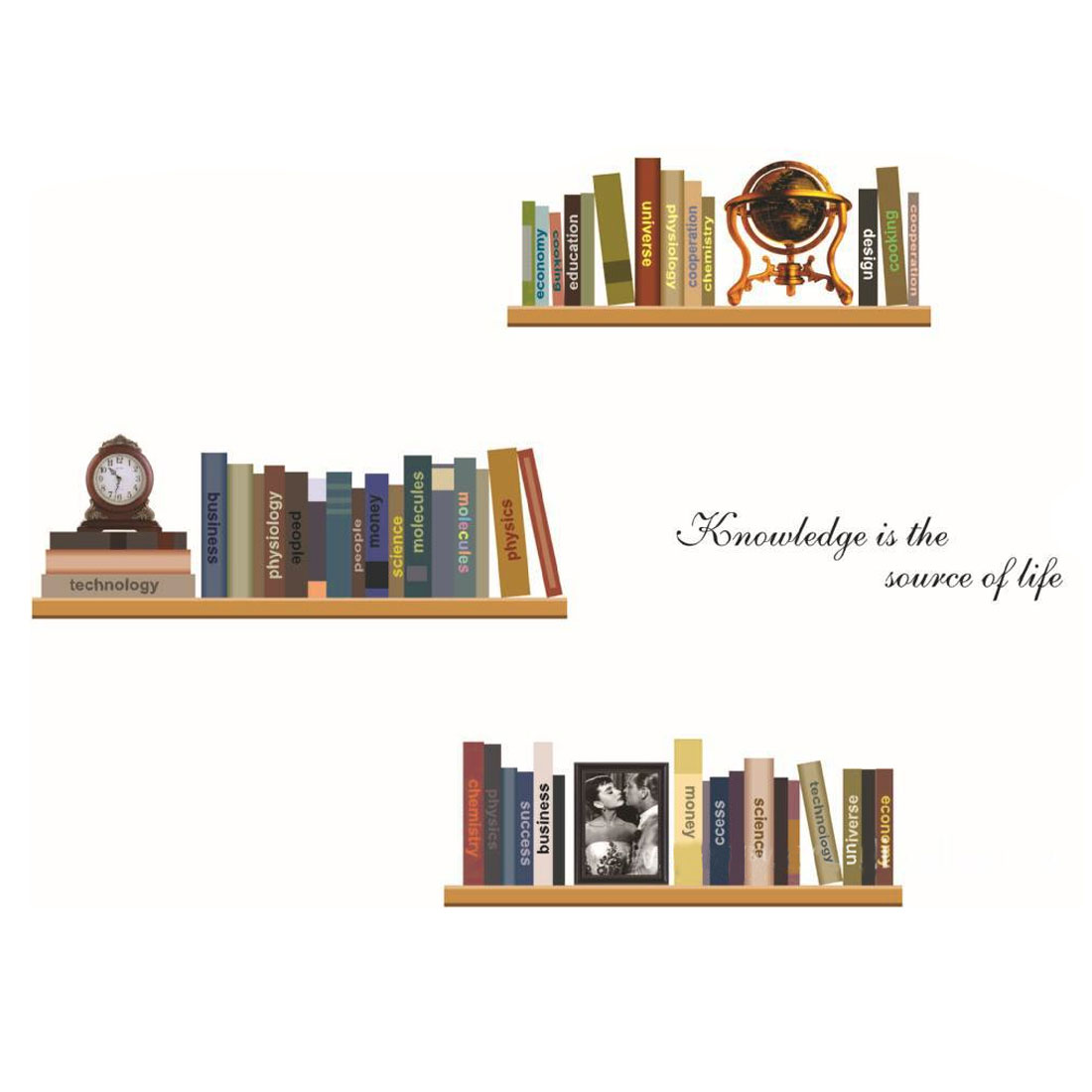 Home Room Decor DIY Removable Bookshelf Book Pattern Wall Sticker Decal