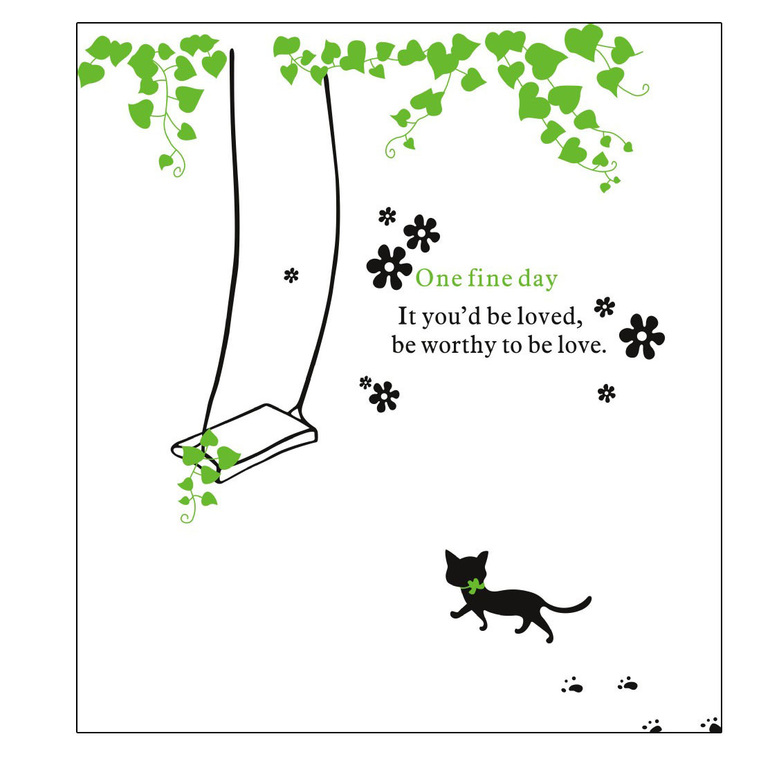 Home Room Decor DIY Removable Green Vine Black Cat Pattern Wall Sticker Decal