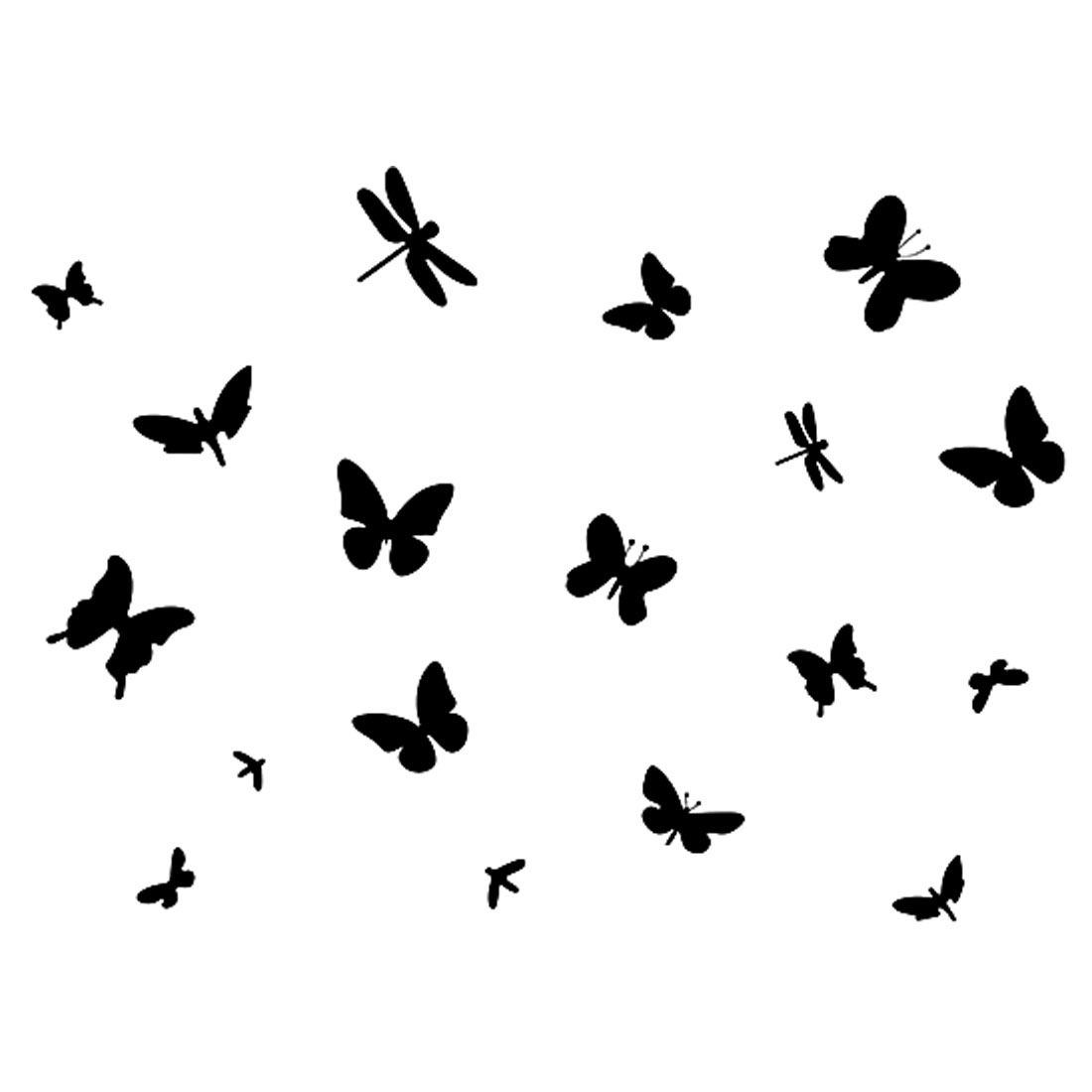 Home Room Decor DIY Removable Black Butterflies Dragonflies Pattern Wall Sticker Decal