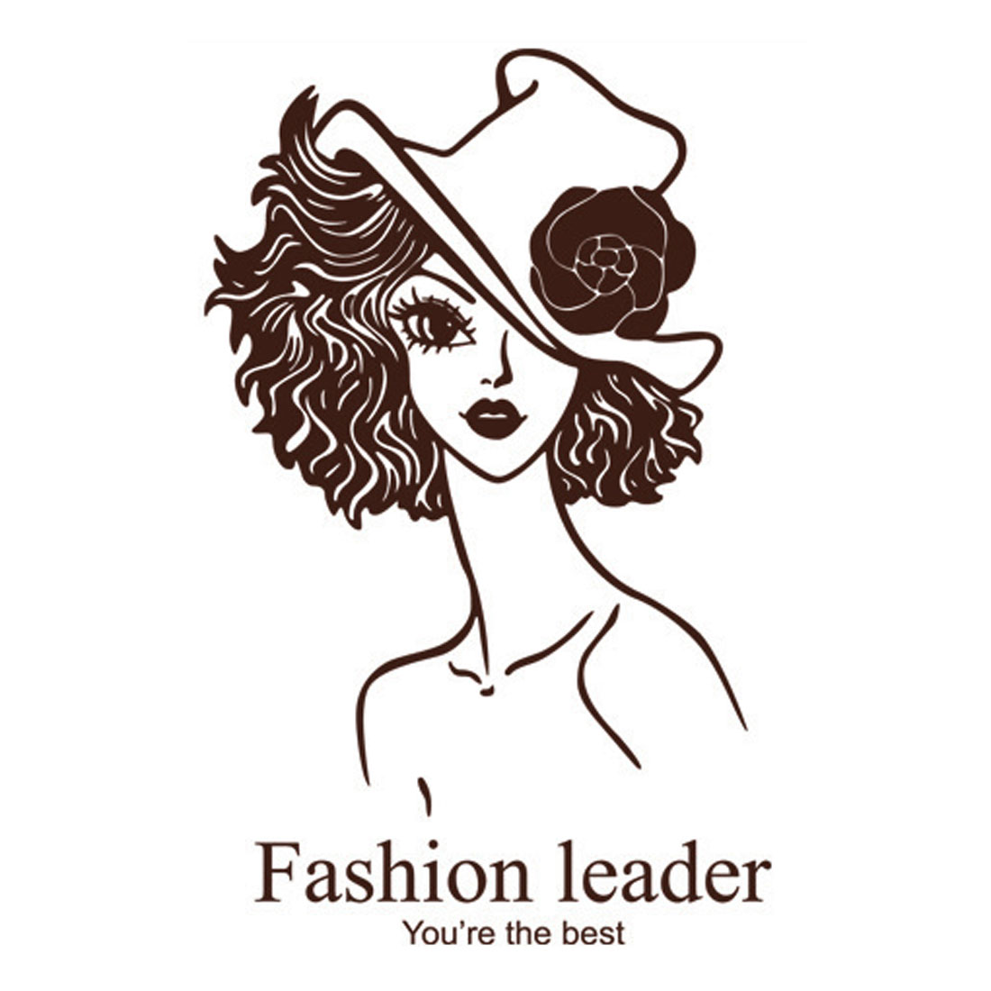 Dark Brown Home Room Decor DIY Removable Fashion Lady Pattern Wall Sticker Decal
