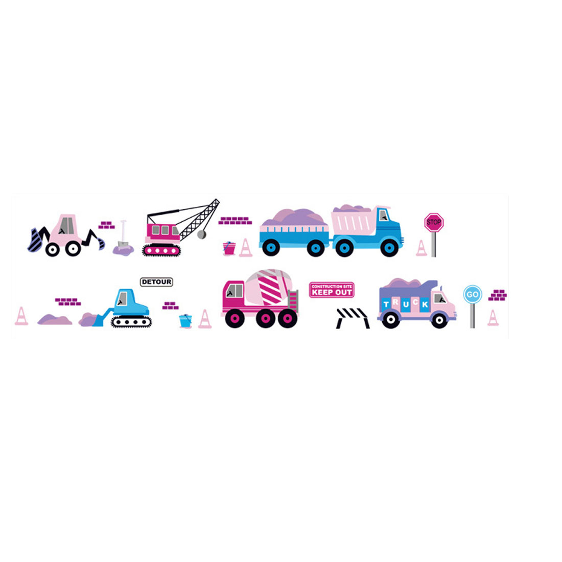 "Living Room Detailing DIY Mural Toy Cars Wall Sticker Decal 59"" x 16"" Pink Blue"