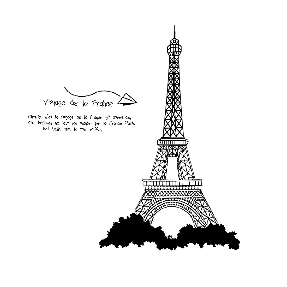 "Living Room Detailing DIY Mural Eiffel Tower Wall Sticker 39"" x 35"" Black"