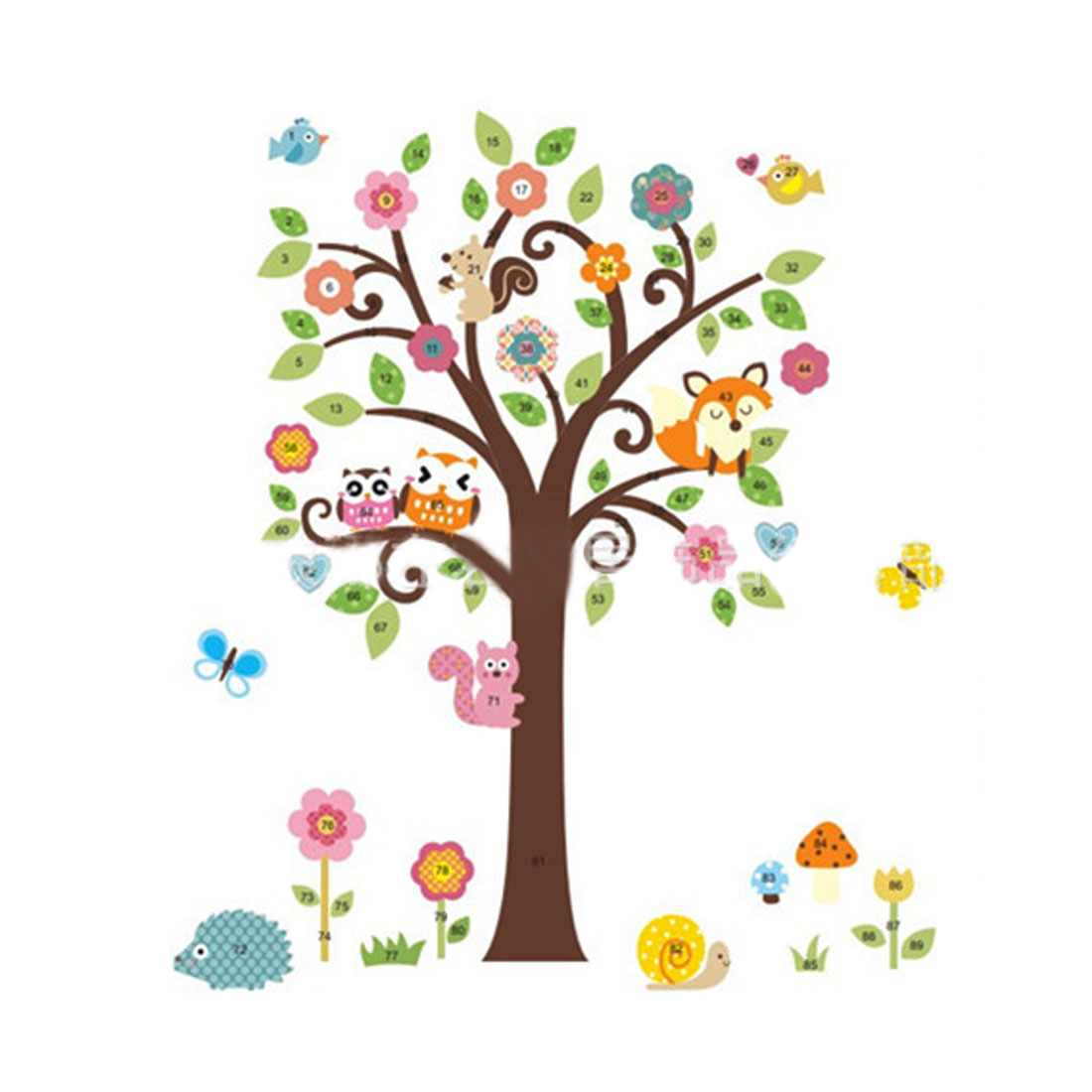 Home Decor Colorful DIY Removable PVC Cartoon Animal Tree Wall Sticker Decal 1.15x1.35m