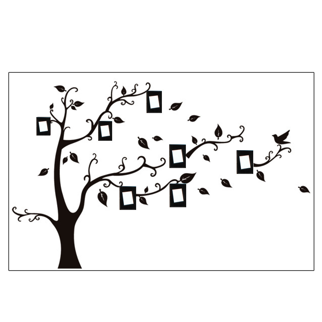 Home Room Decor Black DIY Removable PVC Photo Frame Tree Wall Sticker Decal 70x50cm