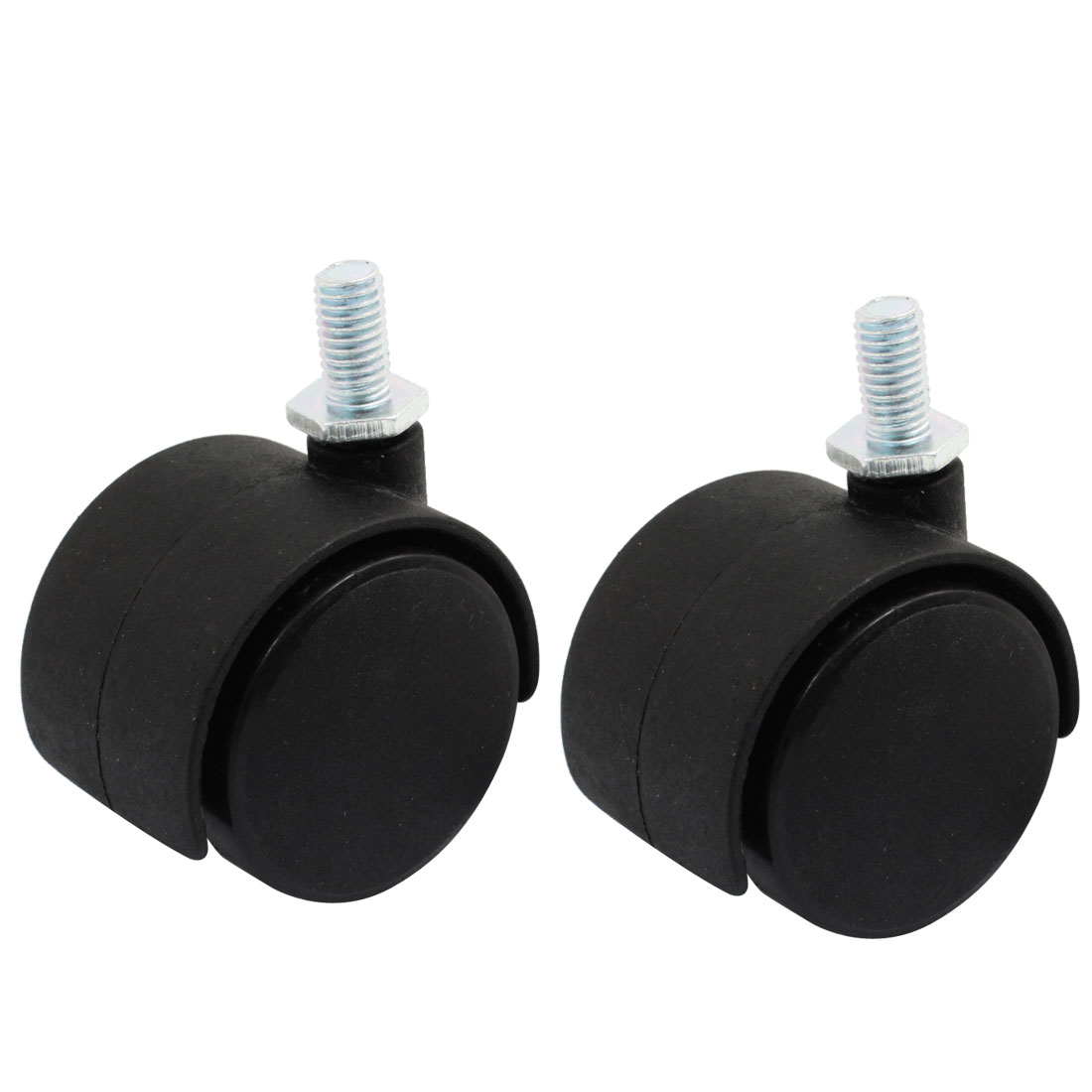 "Luggage Case Carts 8mm Thread Dia 1.5"" Round Rotary Swivel Wheel Caster Black 2pcs"