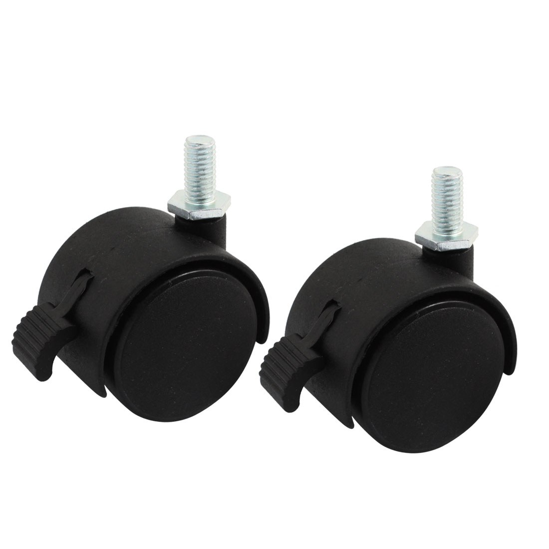 "Luggage Case Carts 8mm Thread Dia 1.5"" Round Rotary Brake Swivel Wheel Caster Black 2pcs"