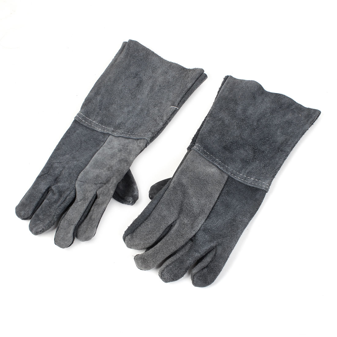 Pair Short Cuff Faux Leather Full Finger Welding Protector Gloves Dark Gray