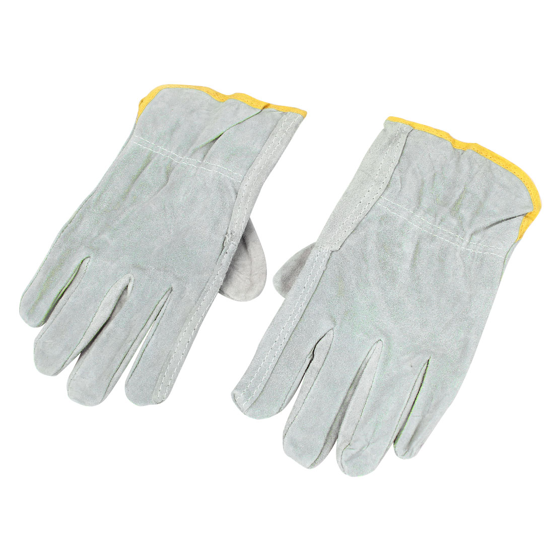 Pair Faux Suede Full Finger Welding Protecting Gloves Gray