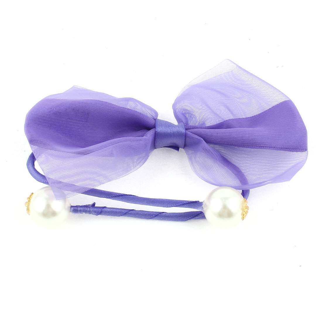 Plastic Pearl Bowtie Decor Rope DIY Wire Hair Band Tie Bracelet Purple