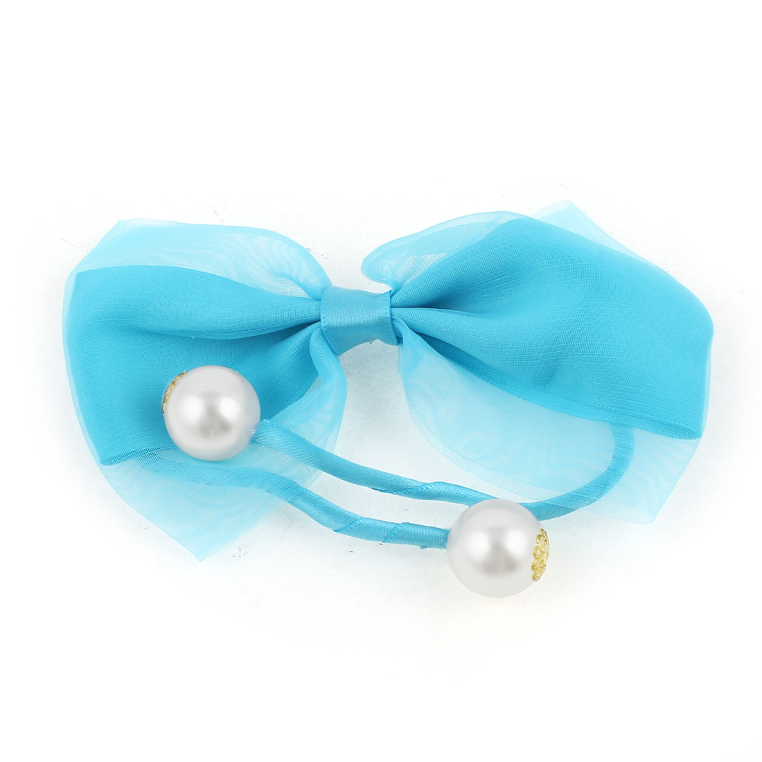 Plastic Pearl Bowtie Decor Rope DIY Wire Hair Band Tie Bracelet Blue