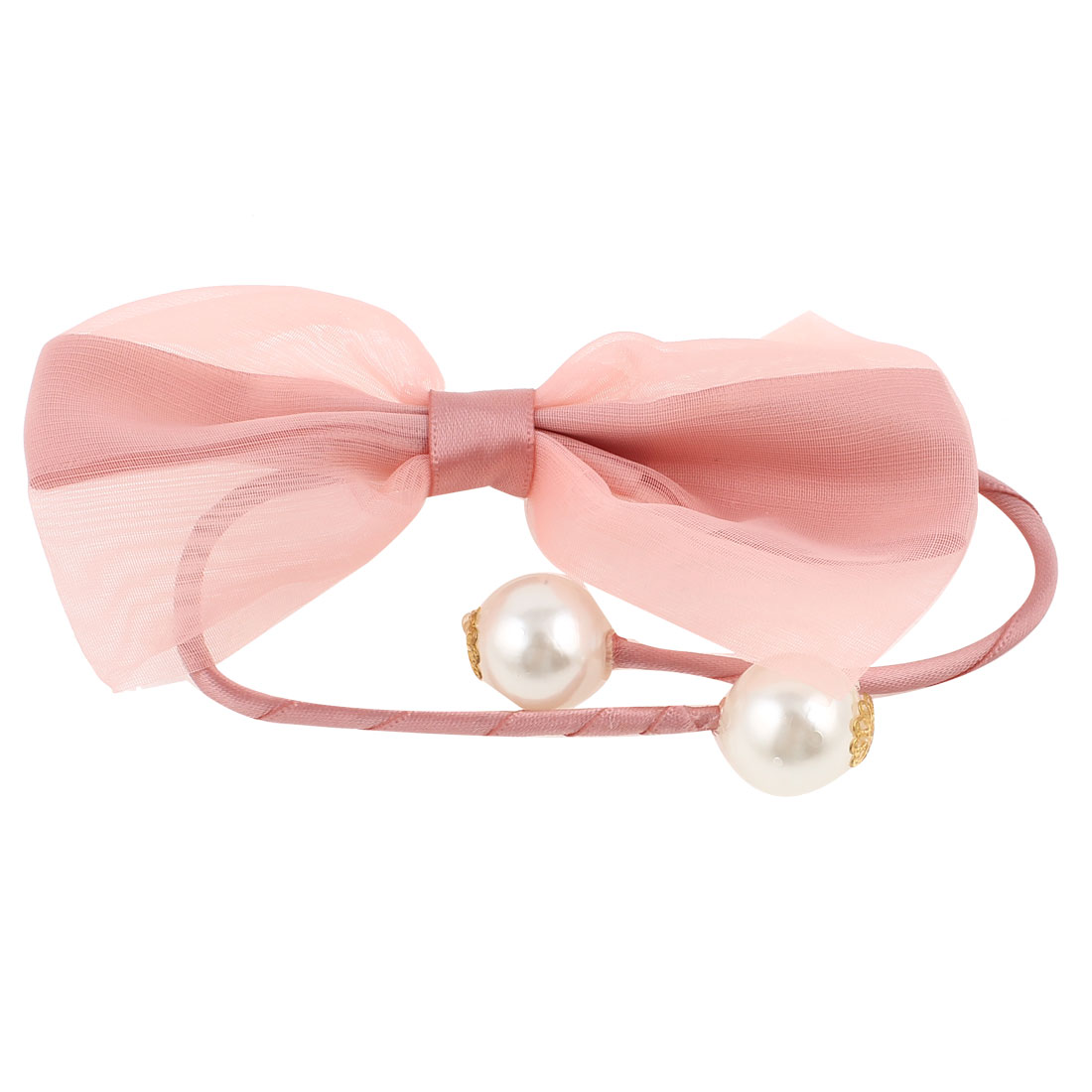 Plastic Pearl Bowtie Decor Rope DIY Wire Hair Band Tie Bracelet Flesh Pink
