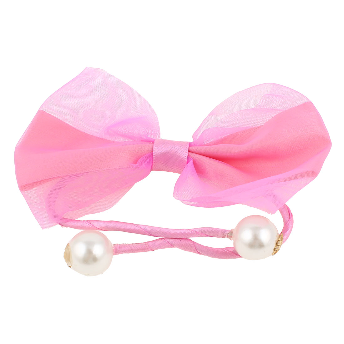Plastic Pearl Wire Wrapped Rope DIY Hair Band Tie Bracelet Pink for Women