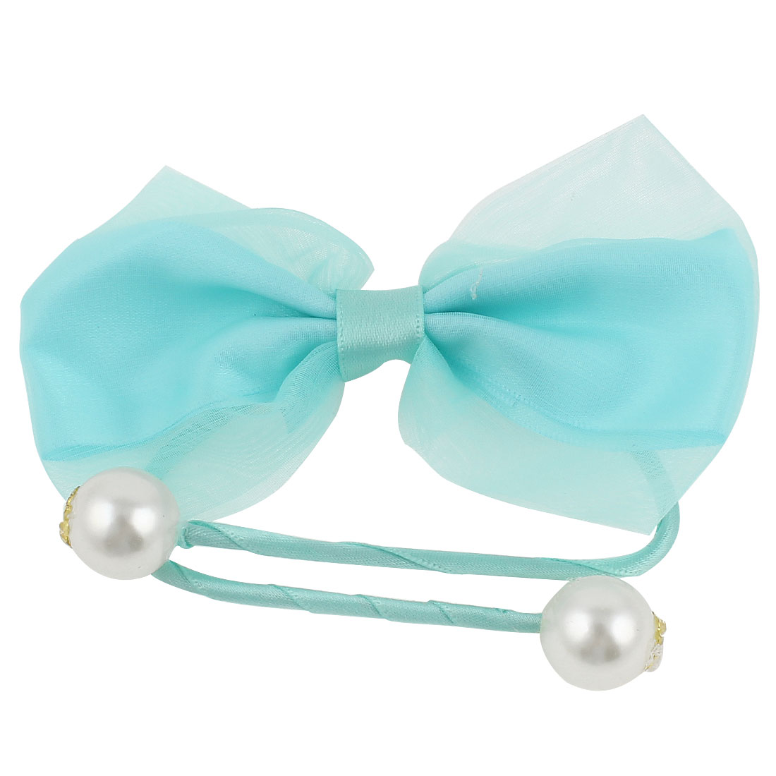 Plastic Pearl Bowtie Decor DIY Rope Wire Hair Band Tie Bracelet Light Blue