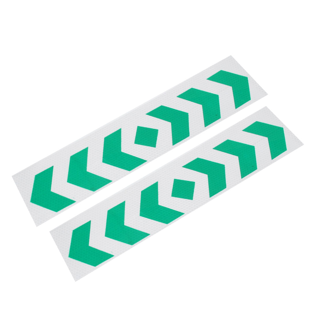 Car Automobile Arrows Pattern Safety Reflective Stickers Green Silver Tone 2 Pcs