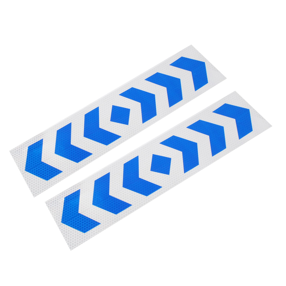 2 Pcs Car Arrow Pattern Reflective Blue Silver Tone Strips Stickers Decals