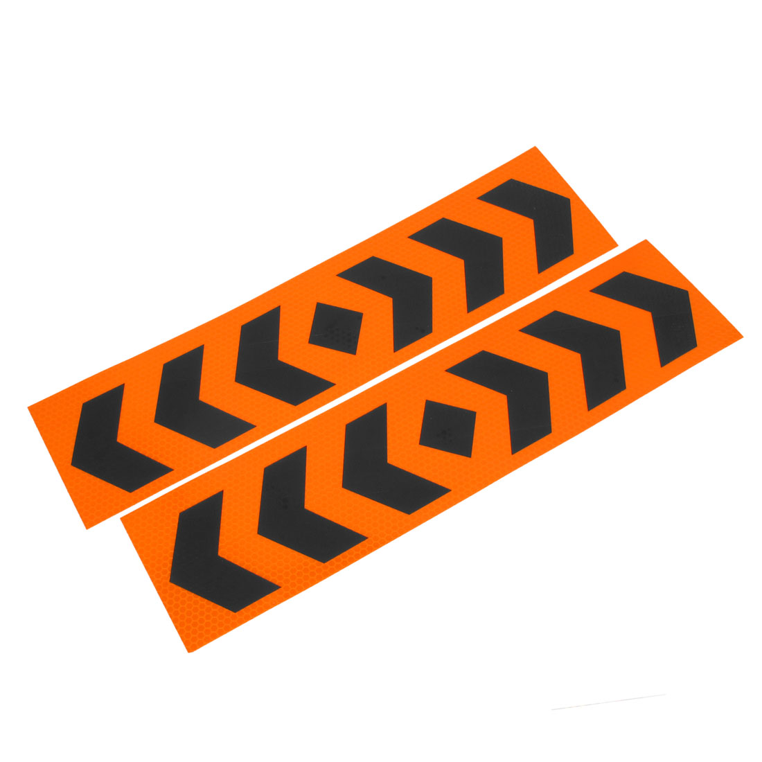 Pair Orange Black Plastic Arrow Pattern Reflective Sticker Decal for Auto