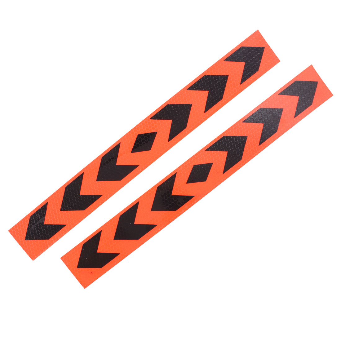 2 Pcs 40cm x 5cm Arrows Pattern Car Reflective Stickers Decals Orange Black