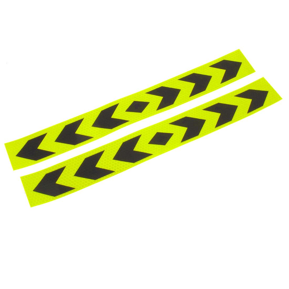 2 Pcs Reflective Arrow Pattern Sticker Yellow Black 40cm Long for Car