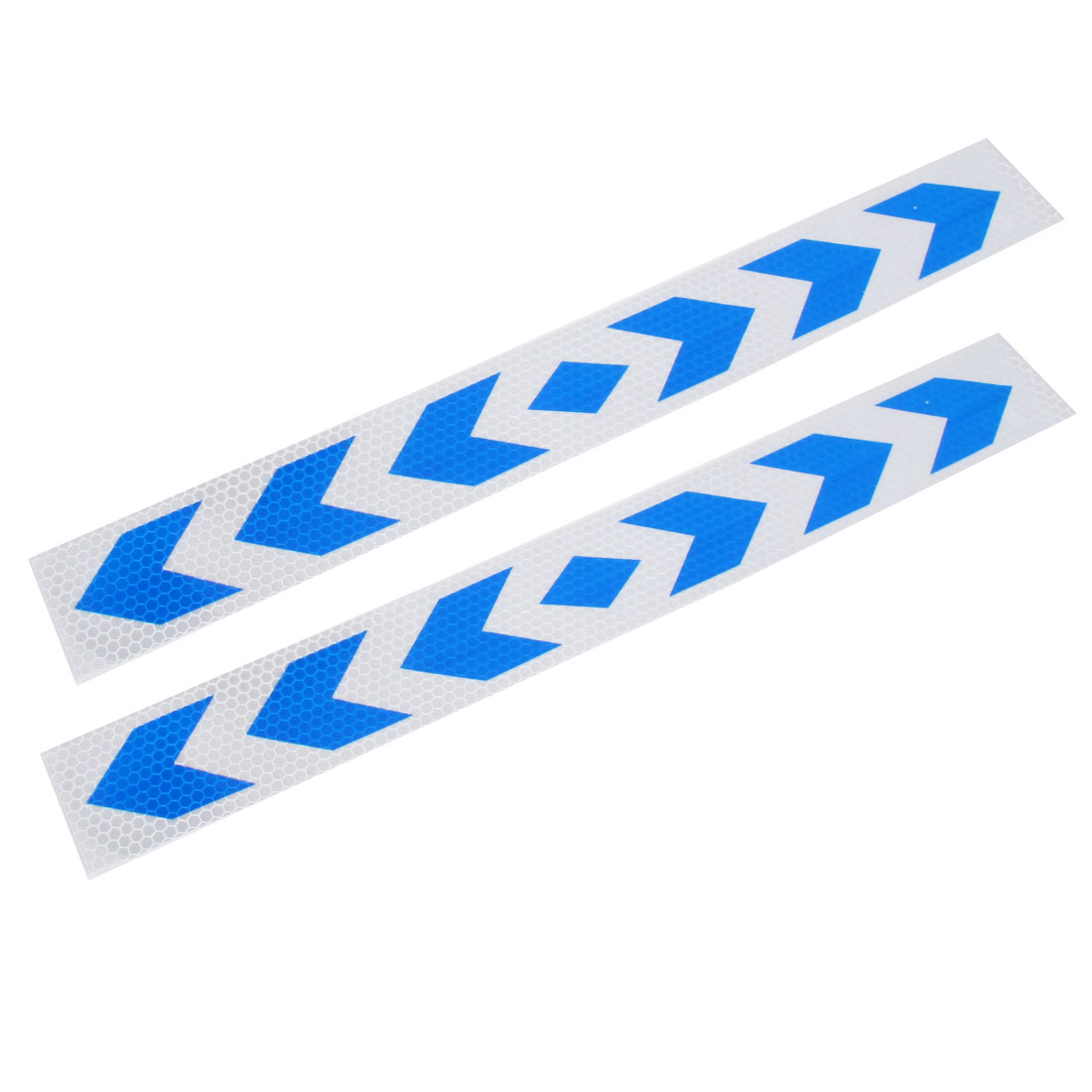 2 Pcs Blue Silver Tone Arrow Pattern Reflective Car Sticker Decal