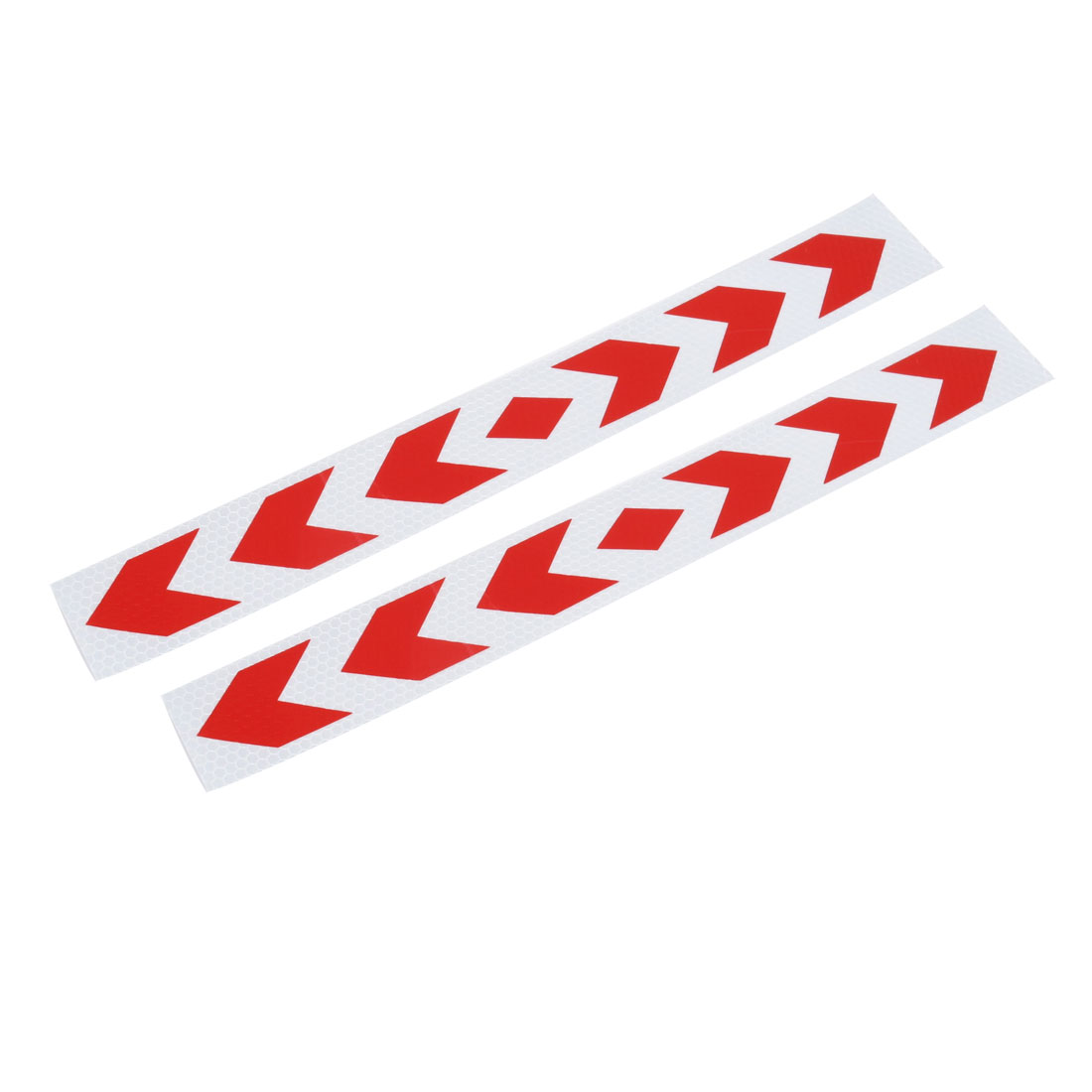 2 Pcs Red Silver Tone Arrow Pattern Track Car Decor Safety Sticker Decal