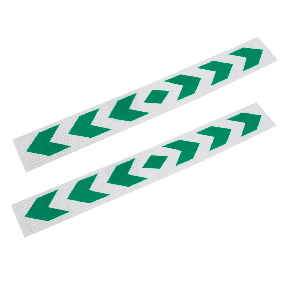 Pair Car Truck Trailer Reflective Safety Arrows Pattern Tape Sticker Green Silver Tone