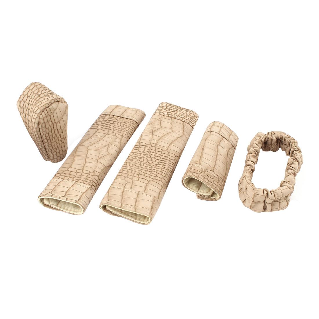 Car Beige Crocodile Prints Handbrake Seatbelt Shift Knob Cover Set 5 in 1